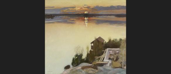 Pekka Halonen, Auringonlasku Tuusulanjärvellä. Sauna lämpiämässä!